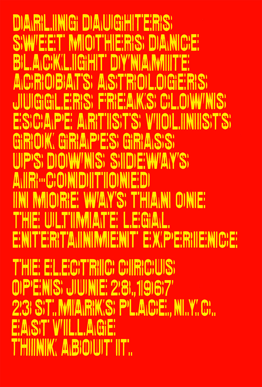 Poster per The Electric Circus - New York - 1967 - design Chermayeff & Geismar - Night Fever
