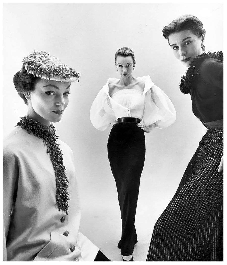 Ivy Nichols, Sophie Malagat Litvak e Bettina in Givenchy - ph. Nat Farbman - Febbraio 1952 - Hubert de Givenchy