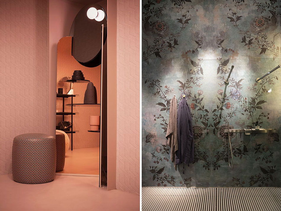 Wall&Decò - A sin. Club Unseen - Studiopepe - A ds. Stand al Salone - Milano Design Week 2018